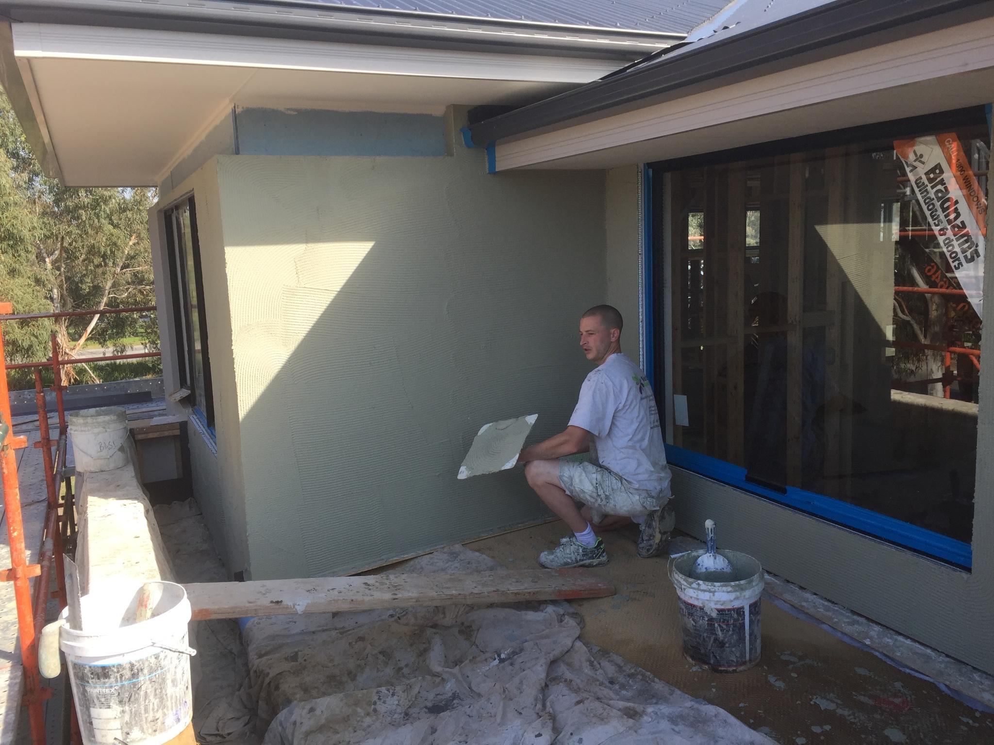Owen performing a cement rendering Blacktown