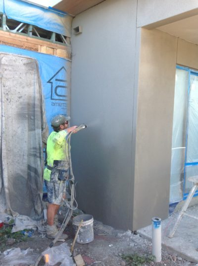 Tommy on a rendering project in Bankstown